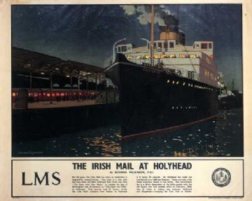 Irish Mail Train Holyhead, Ireland Travel Art Poster by Norman Wilkinson